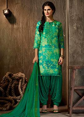 Turquoise Cotton Salwar Suit