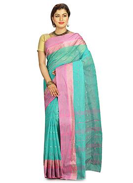 Turquoise Cotton Tant Saree