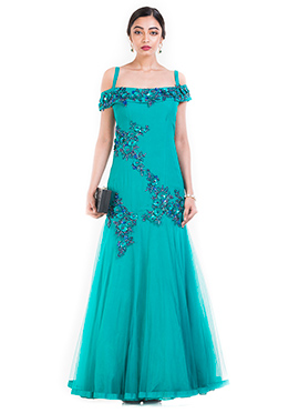 Turquoise Crepe Mermaid Gown