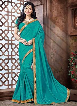 Turquoise Crepe Silk Saree