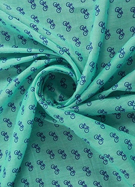 Turquoise Digital Printed Linen Georgette Fabric