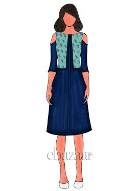Turquoise Digital Printed Linen Georgette Kurti