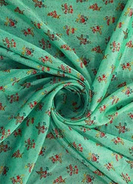 Turquoise Digital Printed Munga Silk Fabric