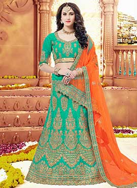 Turquoise Embroidered A Line Lehenga
