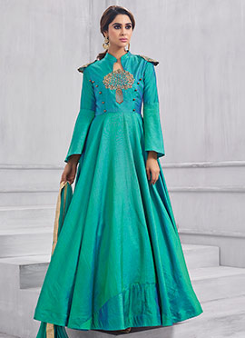 Turquoise Embroidered Anarkali Gown