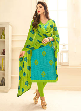 Turquoise Embroidered Churidar Suit