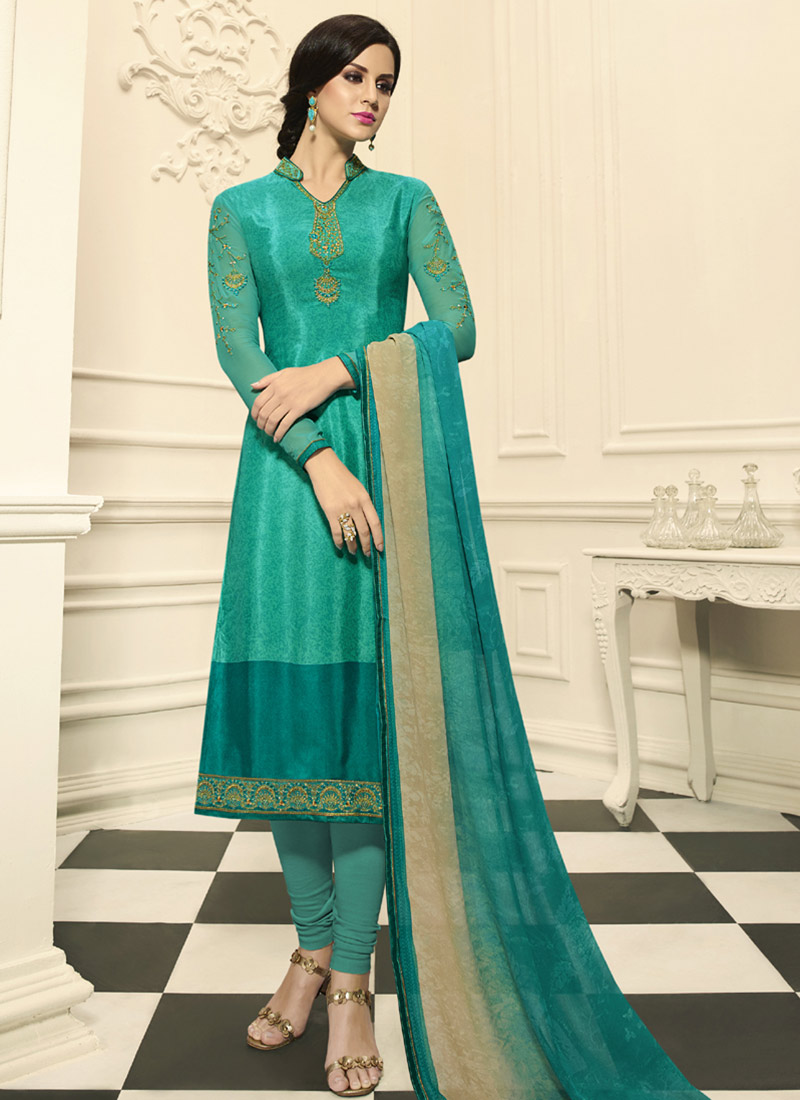 Buy Turquoise Embroidered Churidar Suit, Embroidered, churidar suit ...