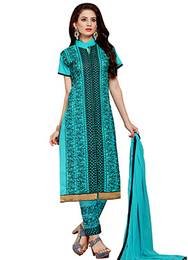 Turquoise Embroidered Cotton Straight Pant Suit