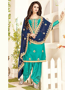 Turquoise Embroidered Salwar Suit