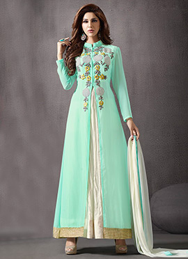 Turquoise Georgette Anarkali Suit