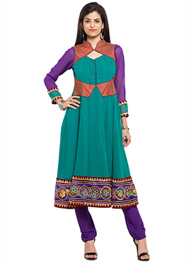 Turquoise Georgette Embroidered Anarkali Kurti