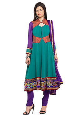 Turquoise Georgette Embroidered Anarkali Suit