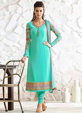 Turquoise Georgette Embroidered Straight Suit