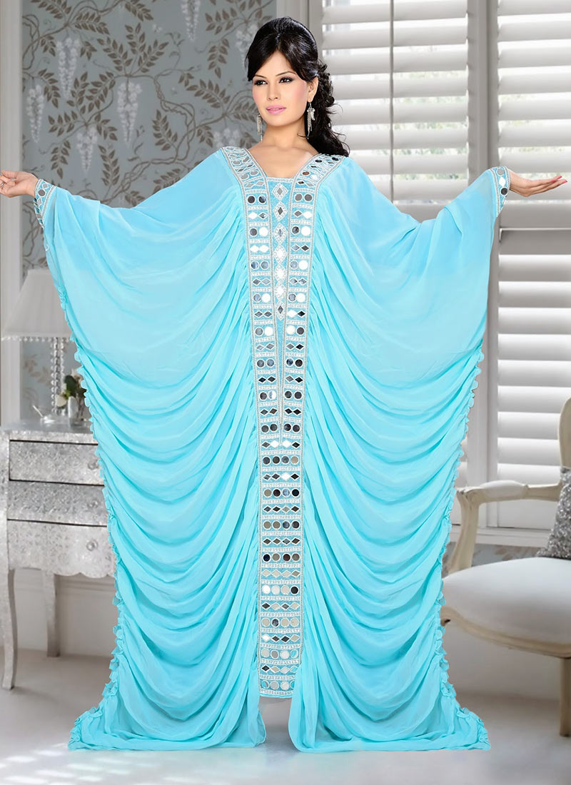 Buy Turquoise Georgette Plus Size Kaftan Dress, Party Wear, tops and tunics  Online Shopping | PLKFMAC295