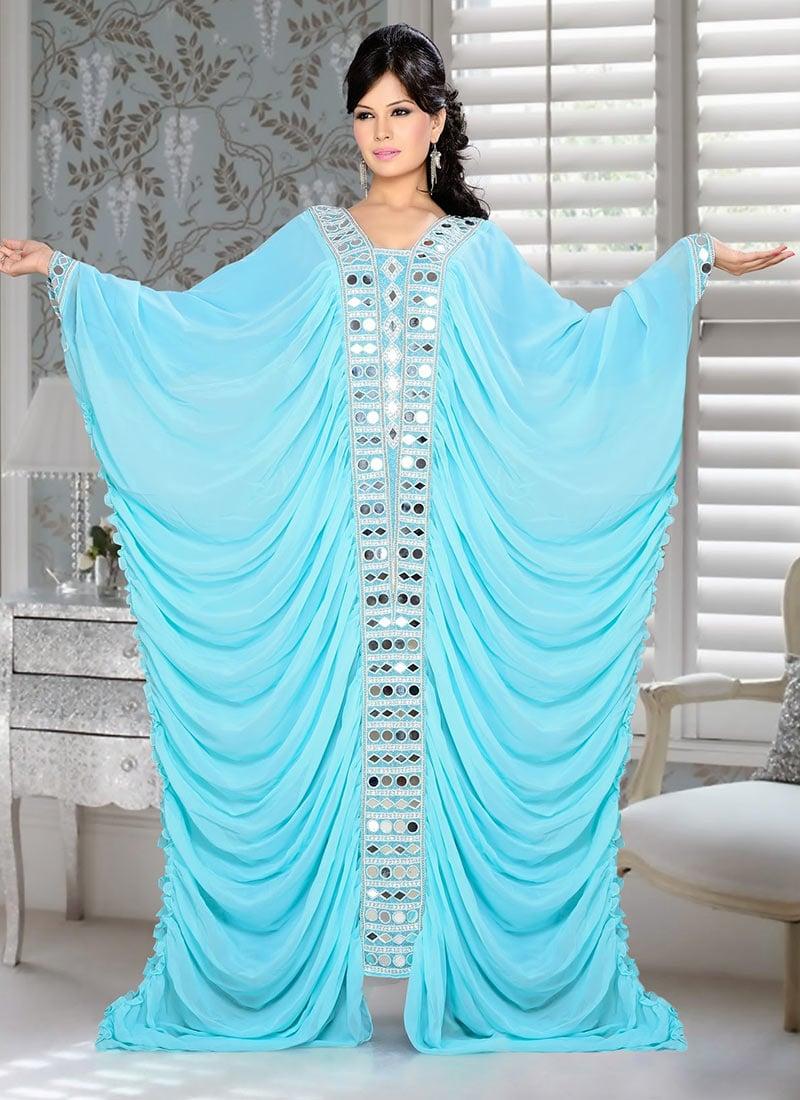 Turquoise Georgette Plus Size Kaftan Dress