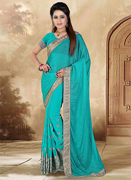 Turquoise Gerogette Lycra Saree