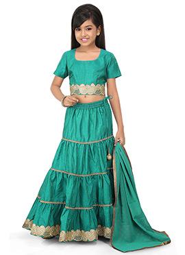 Turquoise Green A Line Kids Lehenga Choli