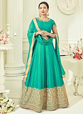 Gauhar Khan Turquoise Green Abaya Style Anarkali S
