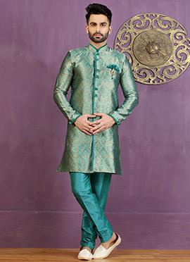 Turquoise Green Art Silk Achkan Sherwani