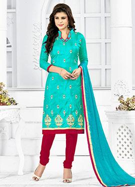 Turquoise Green Art Silk Churidar Suit