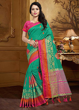 Turquoise Green Art Silk Saree