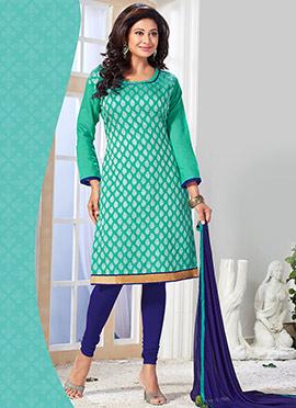 Turquoise Green Benarasi Art Silk Churidar Suit