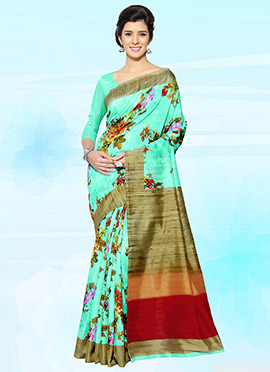 Turquoise Green Bhagalpuri Art Silk Saree