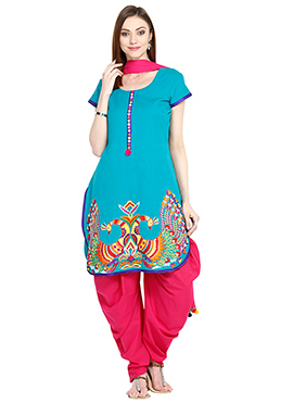 Turquoise Blue Blended Cotton Semi Patiala Suit