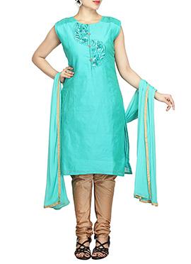 Turquoise Green Chanderi Pure Silk Cotton Churidar