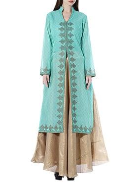 Turquoise Green Chanderi Skirt Set