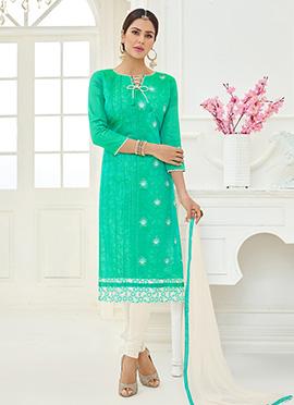 Turquoise Green cotton Churidar Suit