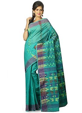 Turquoise Green Cotton Saree