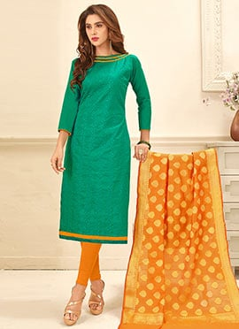 Turquoise Green Embroidered Churidar Suit