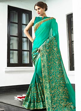 Turquoise Green Embroidered Saree