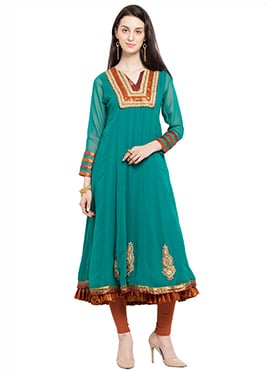 Turquoise Green Georgette Embroidered Anarkali Kur