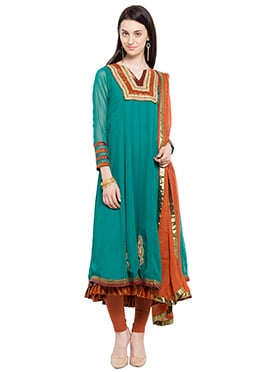 Turquoise Green Georgette Embroidered Kalidar Suit