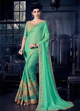 Turquoise Green Half N Half Saree