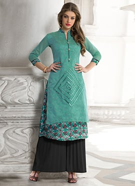 Turquoise Green Layered Kurti