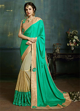 Turquoise Green N beige Half N Half Saree