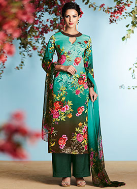 Turquoise Green N Brown Palazzo Suit