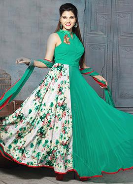 Turquoise Green N Cream Floor Length Anarkali Suit