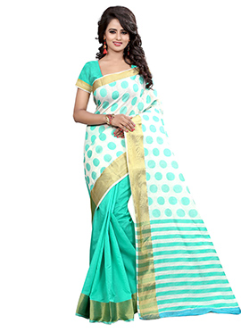 Turquoise Green N Off White Half N Half Saree