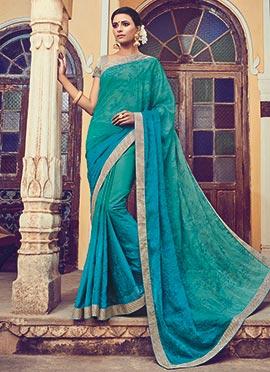 Turquoise Green N Teal Blue Chiffon Saree