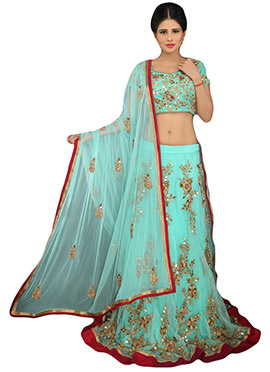 Turquoise Green Net A Line Lehenga Choli