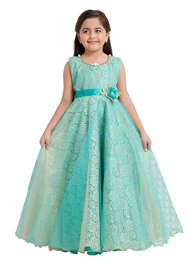Turquoise Green Net Kids Anarkali Gown