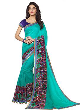 Turquoise Green Printed Saree