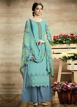 Turquoise Green Pure Cotton Palazzo Suit