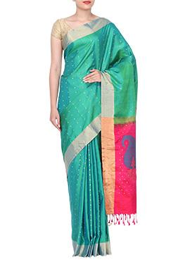Turquoise Green Pure Handloom Silk Mahaveers Saree