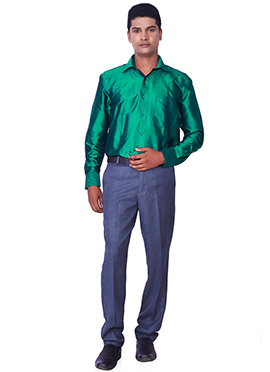 Turquoise Green Pure Silk Classic Shirt