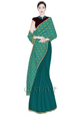 Turquoise Half N Half Art silk Saree